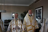 Metropolitan JOSEPH stands with his lifelong mentor and spiritual father Patriarch IGNATIUS IV in Boston, Mass. on November 2, 2008 before His Beatitude would celebrate the Patriarchal Divine Liturgy that morning.